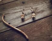 Relic - salvaged bone bead earrings, B01
