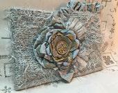 RESERVED for colvinalesia1 Evening Clutch - Spa Blue Shabby Chic Clutch Purse - r - Bridal Bag - Wedding clutch - OOAK Clutch