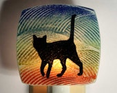 Walking Cat Night Light Made with Recycled Windows