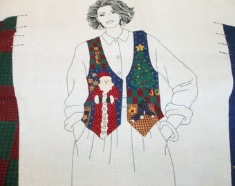 Cranston Cut and Sew Woman's Christmas Vest Panel - Sizes XS - L (6 - 20)