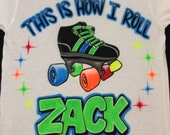 Airbrush Roller Skate Shirt w/ Your Name Airbrushed Skating Birthday T-Shirt Free Shipping