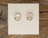 "Dichroic Glass Earrings Light Green Pink, Violet  5/16"" DGE-819"