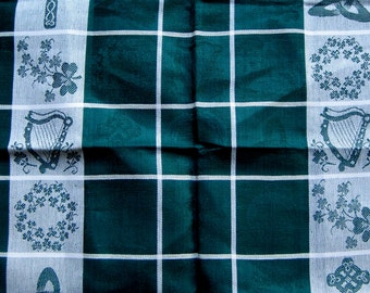 Irish Linen bought in Ireland in green and white Irish Symbols