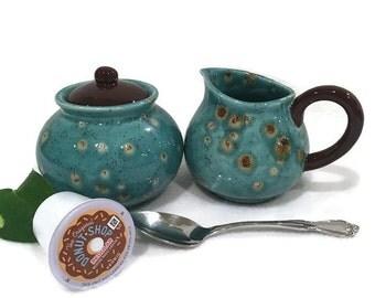 Ceramic Creamer and Sugar Bowl - Blue and Brown