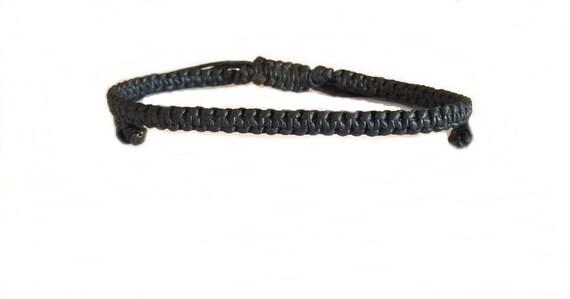 Classic Black FRIENDSHIP Cotton Fair Trade Buddhist Wristband BRACELET Handcrafted Wristwear