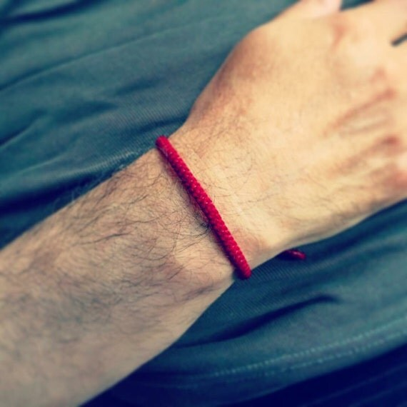Handcrafted Fair Trade THIN Red Cotton Classic Thai Buddhist WRISTBAND Bracelet Wristwear