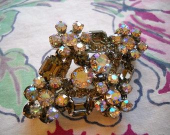 Vintage Juliana Brooch Black Diamond Smoke AB Rhinestones Pin FREE SHIPPING