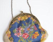 30% off SALE / SALE / Vintage 1930s painted silk handbag with cherub detail on metal frame