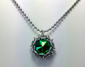 Phaedra Chainmaille wrapped Swarovski Crystal Pendant