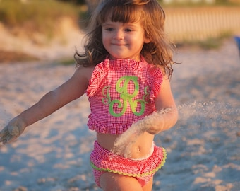Baby girls swimsuit with matching hat beach outfit girls swimsuit monogrammed swimsuit
