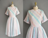 r e s e r v e d...50s plus size cotton stripe vintage dress / vintage 1950s dress