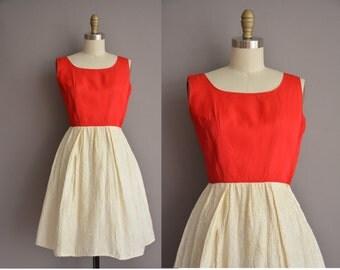 50s red and ivory vintage floral brocade dress / vintage 1950s dress
