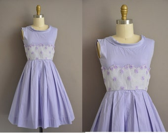 50s lavender cotton vintage full skirt dress / vintage 1950s dress
