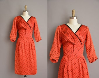 50s red satin vintage party dress / 1950s dress / butterfly and tulip print dress
