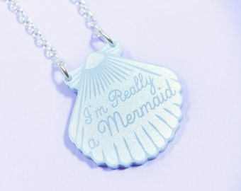 Mini Blue Shell Necklace / Mermaid Jewelry