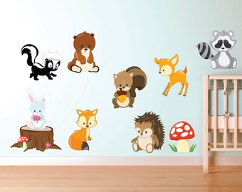 Gentil Woodland Animal Decals   Forest Animal Fabric Decals   Woodland Animal Wall  Decals   Kids Wall