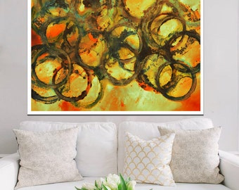 Abstract painting, gold painting, circles painting, vibrant yellow abstract painting print, orange painting, orange abstract yellow painting