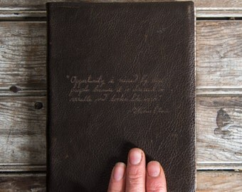 Large Leather Journal with Quote, Medium Hand-Bound Journal, Sketchbook, Notebook, Blank Book, Handbound, Leather Journal, Leather Book