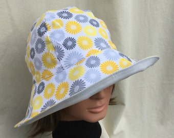 Ladies Sun Hat, Floppy Hat, Gardening Hat, Take Me AnyWhere, Vacation Hat, Daisy Ladies Hat, Daisy Sun Hat, Light Weight Reversible Sun Hat