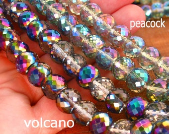 """7"""" / 15"""" 8mm 10mm MICRO Faceted - Peacock Green - Volcano - half coat AB Extra Sparkle crystal glass rondelle Beads - PICK Color"""