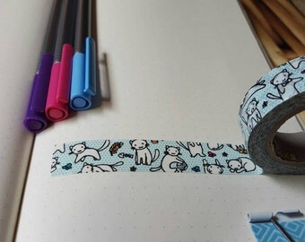 Blue Doodle Cats 30 in Washi Tape Sample