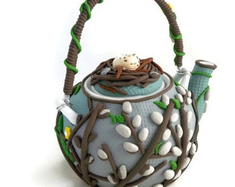 Springtime pussywillow teapot clay art birds nest and floral design