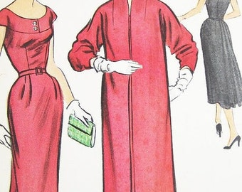 ON SALE Vintage 1950s Dress Pattern - McCalls 9742 - Misses' One-Piece Dress with Belt and Coat - SZ 16/Bust 34