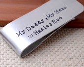 Father's Day Money Clip Hand Stamped Custom Personalized Money Clip Husband Father Brother Man