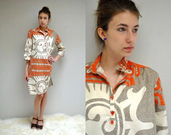 70s Tribal Print Dress  //  70s Shirt Dress  //  THE WAIMEA