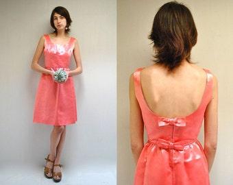Coral Bridesmaid Dress  //  60s Babydoll Dress //  THE PHIONA