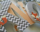 Fox Themed Baby Boy Nursery, Wall Wooden Letters, HAPPY FOX THEME, Custom Wood Letter, Grey and Orange, Hanging Name Sign