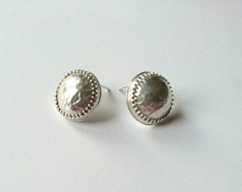 Sterling silver handmade domed disc earrings, hallmarked in Edinburgh