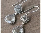 Silver Earrings,Glass Drop Earrings,Jewel Earrings,Dainty Earrings,Delicate Silver Earrings,Bridesmaids Gift,Bride Earrings,Bridesmaids