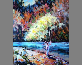 Landscape Oil Painting ~ Oil painting print ~ Digital download print of a fishing landscape scene in oil paints.