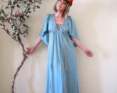 BIG ASS SALE vintage 70s 1970s pale blue maxi dress bell sleeves hippie boho goddess size S/M made in England