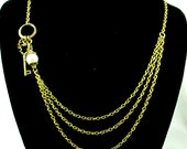Necklace with Asymmetric Key, Pearl and Chains