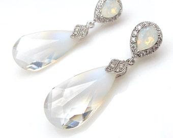 wedding bridal party bridesmaid jewelry swarovski air opal faceted crystal teardrop earrings on white gold teardrop post earrings cubic