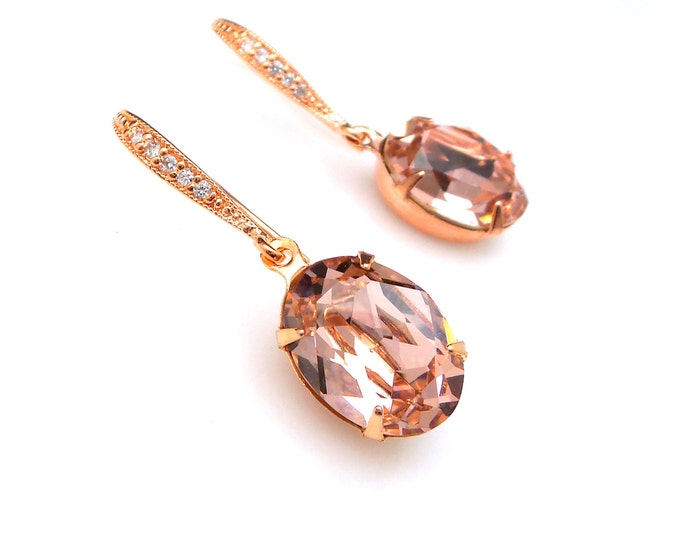 bridesmaid gift prom Swarovski vintage rose blush pink oval foiled crystal rhinestone drop with cubic zirconia pink rose gold hook earrings