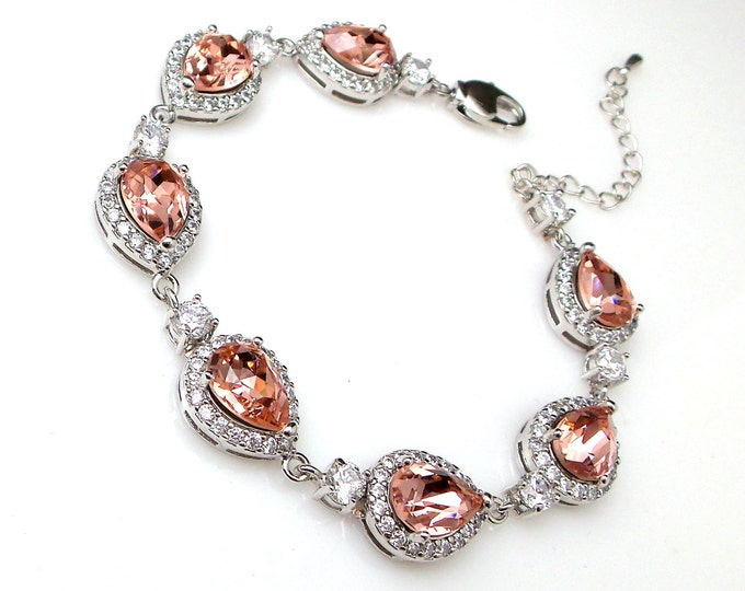 bridesmaid gift bridal bracelet wedding jewelry prom christmas party gift swarovski teardrop vintage rose blush rhinestone crystal and cubic
