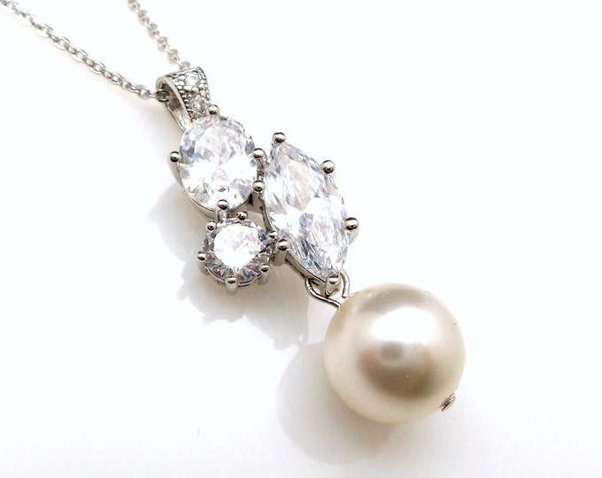 wedding jewelry bridal necklace prom bridesmaid party white cream 10mm round pearl three shape stones cluster cz drop necklace silver chain