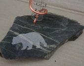 Rain Gauge of Banded Taconite or Ely Greenstone with Sandblasted Bear or Moose