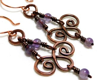 Chandelier Earrings, Handcrafted Jewelry, Purple Amethyst Stone Beads, Antiqued Copper Earrings
