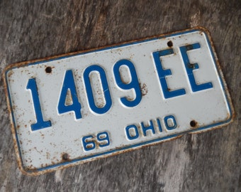 License Plate Ohio Vintage 1969 Blue and White Rustic Garage, Industrial, Man Cave, Pub, Bar Decor, Barn, Wall Hanging, Home Decor