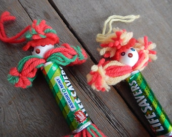 Vintage Life Saver Yarn Dolls Handmade Folk Art Retro Craft Candy Ornaments Holiday Decor