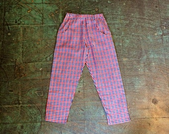 Vintage toddler red white blue gingham plaid pants w/ pockets // size 4T // hip preppy kids Fourth of July // bailey boys st Simons island