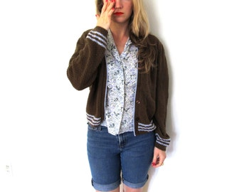 vintage sweater cardigan girl scouts 1980s brown blue striped clothing size xs s m extra small medium