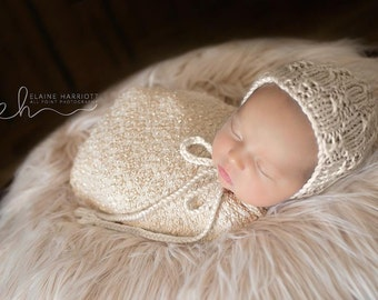 Knit Baby Bonnet Hat, Newborn Knits, Newborn Photography Hat, Newborn Photo Shoot Prop by Cream of the Prop