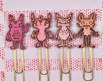Planner Clips - Planner Accessories - Set of 4 - Cute Paper Clips - Bookmark - Cute Planner Gift - Monsters