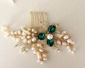 Emerald hair comb, Pearl Hair comb, Golden hair comb, Bridal hair comb, Green Wedding