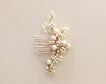 Delicate Bridal hair comb fascinator crystals gold pearls Rhinestones Ivory wedding Style001